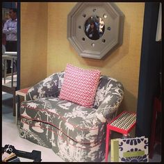Oomph Tini Loveseat in Thibaut South Seas.  NYNOW August 2013