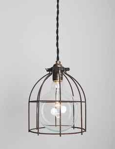 Industrial pendant lamp with large metal cage by Wilkos Electric Lighting Design Interior, Lamp, Pendant Lamp, Light, Bulb, Industrial Pendant Lamps, Green Interiors, Lights, Light Fixtures