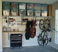 What Type of Garage Organization Tips Can Help You Out? : Easy Garage Organization Tips. Easy garage organization tips. Organisation Hacks, Garage Organization Tips, Storage Hacks, Storage Bins, Workshop Organization, Storage Systems, Storage Room, Bathroom Storage, Extra Storage