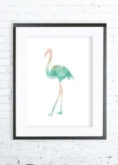 Mint & Coral Flamingo - Flamingo Art - Flamingo Print Art - Flamingo Modern Art Print - Gallery Wall - Instant Download Printable
