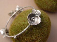 ReaganHayhurst - Sterling Silver Flower Bangle Bracelet.