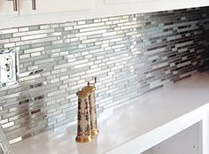 Stainless Steel Tile-Modern Random Mixed Tile With White Glass And Textured Metal Backsplash For White Cabinets, Glass Tile Backsplash, Glass Tiles, Wall Tiles, White Glass Tile, Kitchen Mosaic, Glass Bathroom, Bathroom Ideas, Cool Kitchens