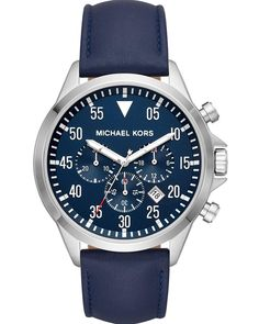 5a54de80f5f9 Michael KORS Gage Chronograph Blue Leather Strap MK8617
