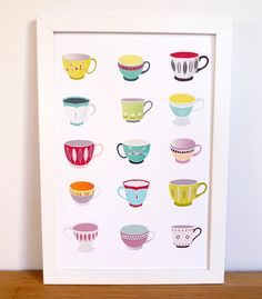 Teacups  A4 print by lauraamiss on Etsy, €10.50