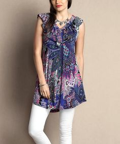 Look what I found on #zulily! Purple Paisley Ruffle V-Neck Sleeveless Tunic - Plus #zulilyfinds