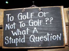 To GOLF or not to golf what a stupid question