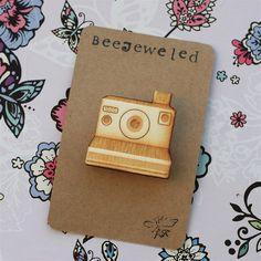 Polaroid Wooden Lasercut Camera Brooch