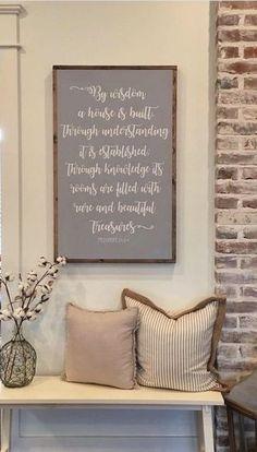 By Wisdom A House Is Built, Farmhouse Style Sign
