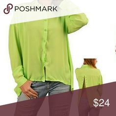 *** JUST IN *** Button Up Long Sleeve Top Lime Green Button Up With Slit in Back Make offer Tops