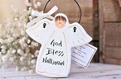 Excited to share the latest addition to my shop: 4 Personalised Boy Angel Communion gift or Christening gift, White hanging angel personalised Baptism ornament, gift for godson Salt Dough Christmas Ornaments, Holiday Crafts, Holiday Decor, Communion Gifts, Confirmation Gifts, Christening Gifts, Personalized Signs, Easter Gift, Family Gifts