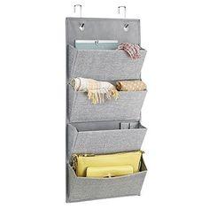 mDesign Schrank-Organizer aus Stoff zur Wandmontage oder Hängen über die Tür für Handtaschen, Spielzeug, Baby-/Kinderkleidung - 4 Taschen, Grau