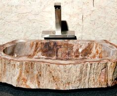 Large Beige and Ruby Petrified Wood Sink | Vessel Bath Sink | ArtisanCraftedHome.com