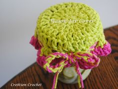 free crochet pattern for mason jar cover (which doubles as a dishcloth!)