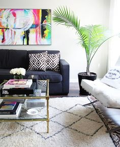 huge, colorful graphic art and fiddle fig tree