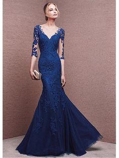 Long Blue V-Neck 3/4 Length Sleeves Lace Prom Formal Evening Dresses 99501018