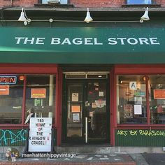The Bagel Store. Great Selection of Unique Bagel and Cream Cheese Flavors. Try the Cragel (Croissant Bagel) and the rainbow bagel. Brooklyn New York, Brooklyn Bridge, New York City, Food Places, Places To Eat, The Bagel Store, Herald Square, Black Taps, Ny Ny