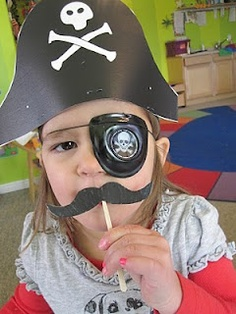 Have kids dress up as pirates : pirate hat + eye patch + mustache