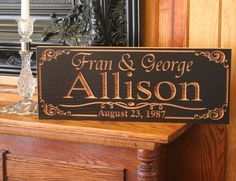 Carved Wooden Signs: Wood Sign Established Name Anniverary Gift Personalized Family Name Sign Pub Sign Wedding Gift Marriage Sign 7x18 AA. $39.95, via Etsy.