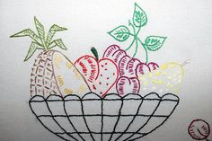 Hand Embroidered Tea Towel Dish Towel  Fruit by AGrandmasTreasures