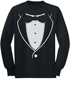 TeeStars  Tuxedo With Black Bow Tie Funny ToddlerKids Long sleeve TShirt 56 Black -- You can find more details by visiting the image link. (This is an affiliate link) #BabyBoyTops