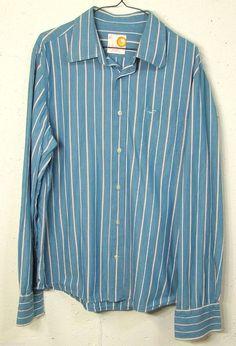 Hollister Mens Blue Striped 100% Cotton Long Sleeve Button Down Pocket Shirt XL #Hollister