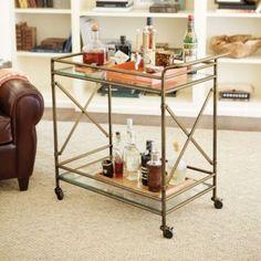 Living room: Olivia Bar Cart from Ballard Designs.