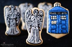 This is for my boy who for some reason thinks the weeping angels are the coolest things in existence. I should bake him some tardis and weeping angel cookies for his lunch box. Doctor Who Party, Doctor Who Tardis, Angel Cookies, Iced Cookies, Sugar Cookies, Dr Who, Scariest Monsters, Cookie Designs, 50th Anniversary