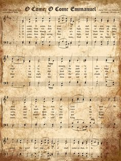 Aged Vintage Christmas Carols- Digital Scrapbook Paper - 5 x 7  O Come, O Come Emmanuel - frame for Christmas!
