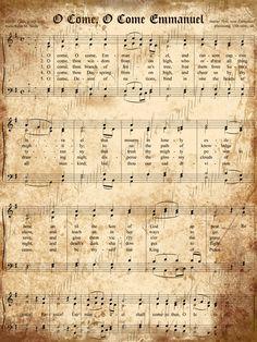 Aged Vintage Christmas Carols- Digital Scrapbook Paper - 5 x 7  O Come, O Come Emmanuel - frame for Christmas!