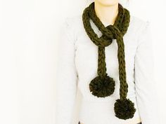 SCARF // Khaki Pompom Long Scarf Noodle Scarves Cotton Fashion Neckwarmer Circle Necklace Chunky Cowl on Etsy, $21.29 CAD