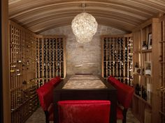 Wine cellar with beautiful tasting table Wine Cellar Design, Home Building Design, Tasting Table, Wine And Beer, Wine Storage, Other Rooms, Wine Drinks, Wine Cellars, Bar