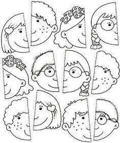 Use this for my younger students in the style of the puzzle piece group project.kinder, blank faces have students draw themselves and color or paint with watercolor? Learning Activities, Preschool Activities, Kids Learning, Preschool Body Theme, Body Parts Preschool, Social Emotional Activities, Folder Games, Kindergarten Worksheets, Kids Education