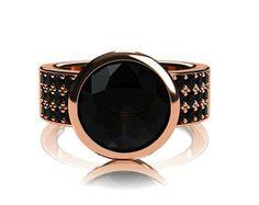 Black Spinel ring, black diamond ring, rose gold engagement,  engagement ring, spinel engagement, black, solitaire, bezel, custom, wide ring