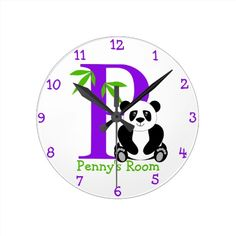 P is for Panda and Penny-Child's Bedroom Wall Clock