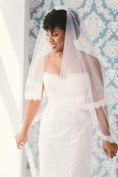 Beautiful wedding dress and veil.