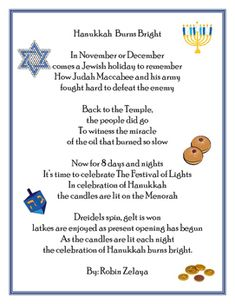 This is an informational rhyming poem about the Hanukkah holiday. It touches on the history of Hanukkah as well as a few things that are used to celebrate today. Poem can be used to practice fluency as well as part of a holidays around the world unit. Hanukkah For Kids, Hanukkah Crafts, Hanukkah Decorations, Hannukah, Christmas Tree Decorations, Hanukkah Traditions, Jewish Celebrations, Kwanzaa
