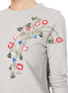 Women Grey Floral Embroidered Sweater