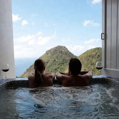 This is how I wanna do my honey moon. Wine, a beautiful view, and a handsome, wonderful soulmate.