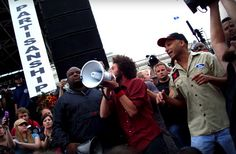 This image taken in August 2008 is when the band performed a free concert in Denver and then participated in an anti-war protest march led by Iraqi veterans against the war. The image shows the band are active in their beliefs, they care and they want to make a difference.