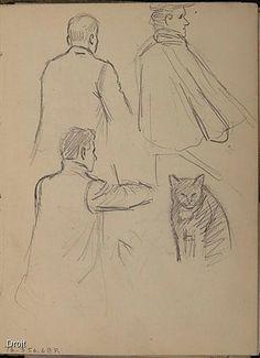 Edmond-Joseph Massicotte, Études de personnages et d'un chat, entre 1906 et 1908. Mine de plomb sur papier, 13,7 x 11 cm. Collection MNBAQ #mnbaq #MuseumCats