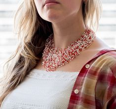 Red white illusion floating necklace, volume seed bead jewelry, airy necklace, multilayer invisible necklace multistrand, glass beads - pinned by pin4etsy.com