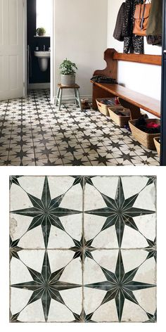 Rachel turned her drab old kitchen into a stylish vintage-themed multi functional space! Firstly, it acts as a kitchen, with a sink and work surface. Secondly, it acts as a. Hall Flooring, Porch Flooring, Kitchen Flooring, Tiled Hallway, Hallway Closet, Vintage Tile Floor, Small Utility Room, Cottage Kitchens, Floor Patterns