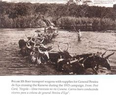 Boer transport wagons crossing the Cunene in 1915 with supplies for Gen. Southern border with Namibia and South Africa.
