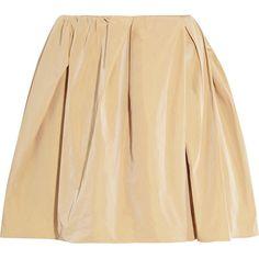 Carven High-waisted gathered faille mini skirt (£105) ❤ liked on Polyvore featuring skirts, mini skirts, bottoms, faldas, saias, sand, pleated mini skirt, short pleated skirt, ruched mini skirt and short skirts