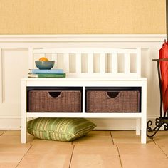 Add a contemporary touch to your home decor with this Beacon white bench White storage bench includes two rattan baskets for storing all your necessities Stylish furniture piece gives you a convenient seat and additional storage White Storage Bench, White Bench, Storage Baskets, Storage Benches, Cubby Bench, Red Bench, Bench Seat, Wood Storage, Kitchen Storage