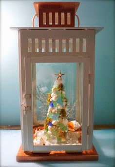 Christmas by the Sea - Shell and sea glass Christmas tree DIY set in lantern
