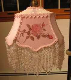 ROYAL LOOP FRAME (p.11) K011 Catherine Klein Pink Rose Hand Beaded Victorian Hand Crafted Shade By Kerri-Victorian, hand crafted, handmade, handsewn, roses, lady, beads, pearls, glass, sugarbeads, lace, antique, vintage,