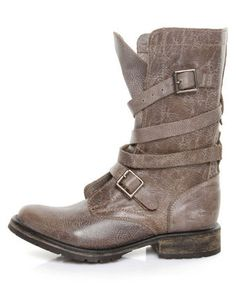 Steve Madden Banddit Stone Leather Slouchy Belted Combat Boots