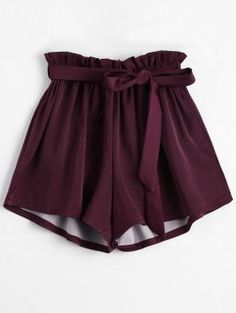 Smocked Belted High Waisted Shorts - Wine Red