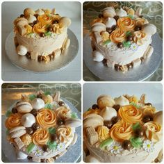 Birthday cake with buttercream roses, macarons & meringues